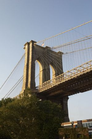 Details of Brooklyn Bridge in the late evening photo