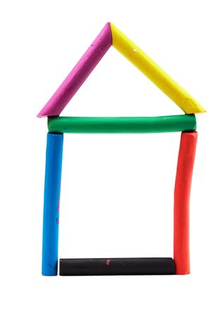 framework of a house made of plasticine