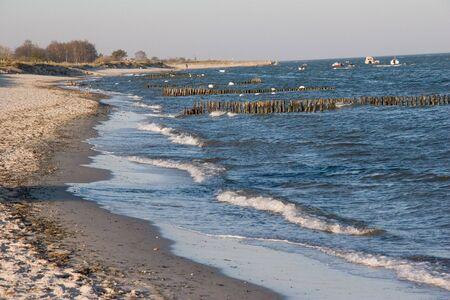 furlough: coastline with surf at baltic sea, germany Stock Photo
