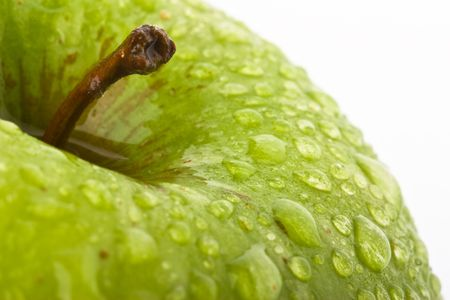 collation: Green Apple with waterdrops on black background