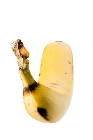 collation: Yellow banana on white background - portrait format Stock Photo