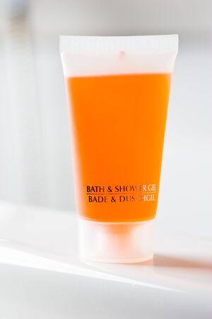Orange translucent bottles of bath- and showergel Stock Photo - 1656176