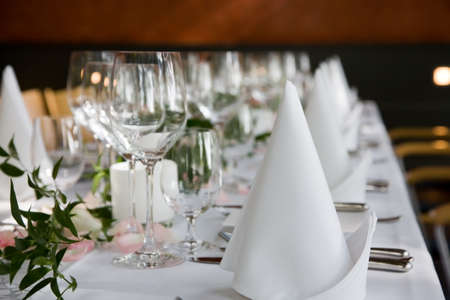 Well-laid table with white folded serviettes and wine glasses. Stock Photo - 2256125