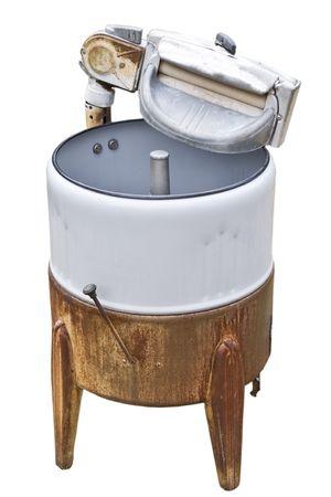 Vintage manual operated Washing Machine isolated on white background Stock Photo