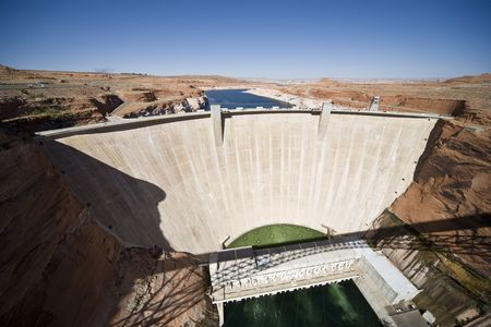 Glen Canyon Dam with Lake Powell in Arizona, USA photo