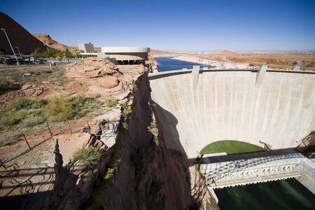 Glen Canyon Dam with Visitor Center and Lake Powell, Arizona, USA photo
