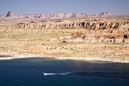 glen: Recreation are with boats on Lake Powell near Page in Arizona, USA Stock Photo