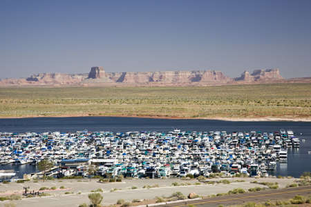 Wahweap marina at Lake Powell near Page in Arizona, USA photo