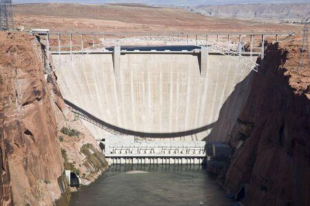 Glen Canyon Dam with Lake Powell in Arizona, USA photo