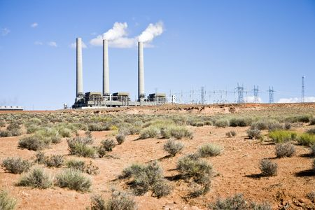 generating station: Navajo Generating Station is a coal-fired steam plant near Page, Arizona Stock Photo