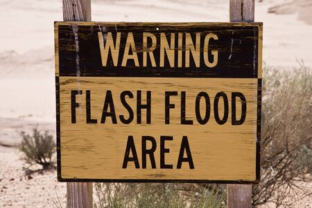 flood area: Sign Warning Flash Flood Area, Lower Antelope Canyon in Arizona, USA