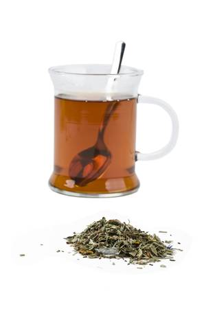 Cup of black tea on white background photo