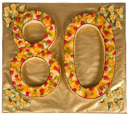 Torta de cumplea�os para 80 a�os Foto de archivo - 3746732