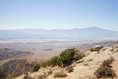 springs: Coachella Valley from Keys view, Joshua Tree NP USA, view to Palm springs Stock Photo
