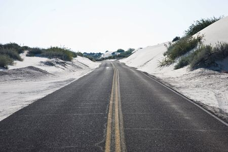 Road through White Sands National Monument in New Mexico, USA Stock Photo - 3832577