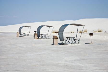 Picnic area, White Sands National Monument in New Mexico, USA Stock Photo - 3832571