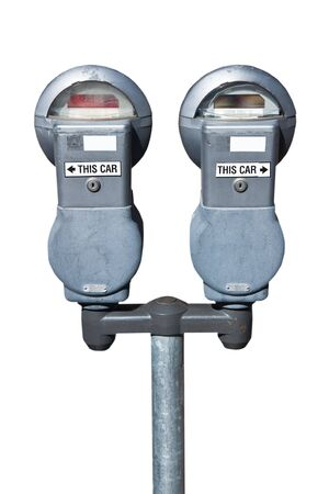 Parking meter USA isolated on white background
