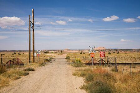 Railroad crossing in New Mexico, USA photo