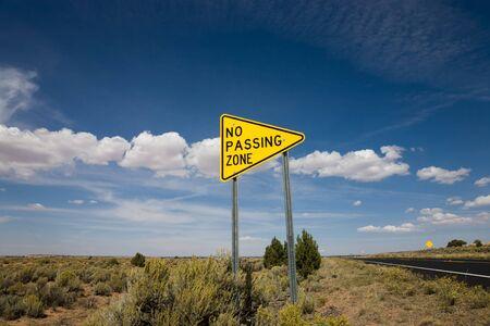 Road sign no passing zone, USA photo