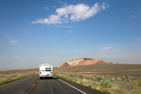 recreational: Recreational vehicle on the road in Arizona, USA Stock Photo