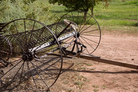 historically: Ancient horse-drawn dump rake, USA