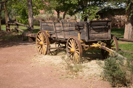 spoked: Old Horse-drawn vehicle on a farm Stock Photo