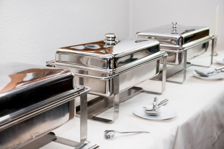 chafing dish: Chafing Dish made of stainless steel at buffet