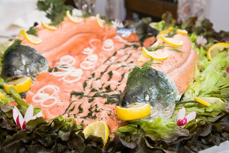 Variations from salmon at buffet photo