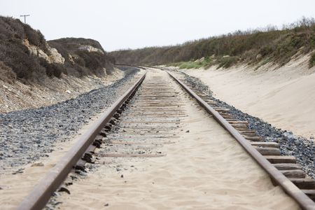 rails in the dunes in California, USA photo