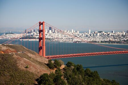 Golden Gate Bridge, San Francisco Bay and Skyline in background, California, USA photo