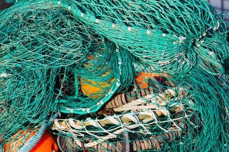 redes de pesca: red de pesca en el Schleswig-Holstein, Alemania Foto de archivo