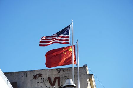 Flags of the United States of America and China