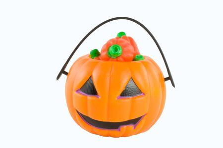 mini pumpkin bucket filled Stok Fotoğraf