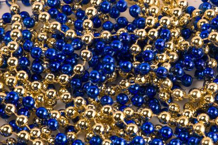 Blue and gold beads