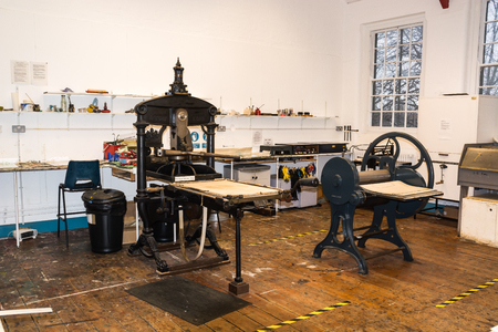 Printing workshop containing old manual presses
