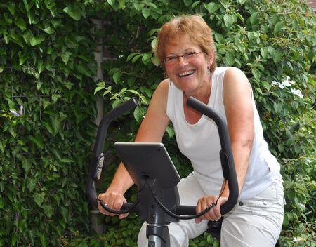 Elderly woman doing her excersize