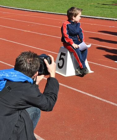 Young athlete waiting concentrated for his moment of glory