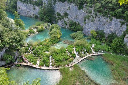 Walking the Plitvice waterfalls in Kroatie Stock Photo