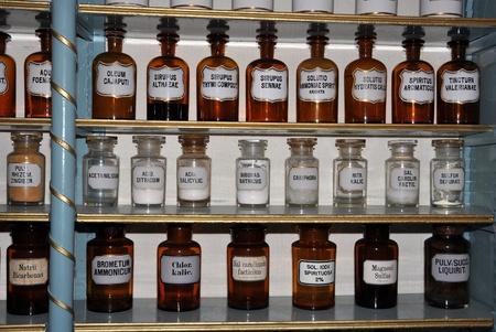 Old drugstore display of oldfashioned medicinal fluids