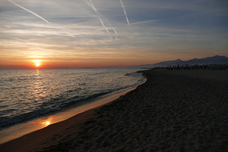 Sunset at the beach of Viareggio Italy Stock Photo