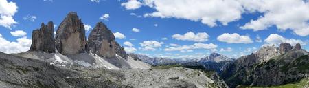 Panoramic view of the Tre Cime di Lavaredo Dolomites Italy Stock Photo
