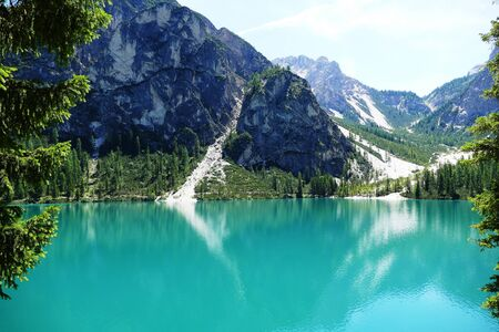 Pragser Wildsee in the Dolomites Italy
