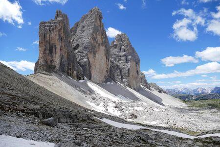 Tre Cime di Lavaredo Dolomites in Italy Stock Photo