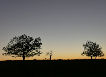 Sunset in Shenandoah with backlighted human figure