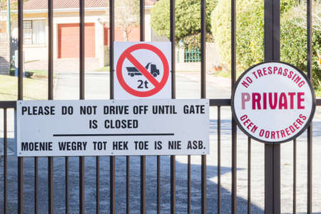 Entrance gates to gated community complex in George South Africa