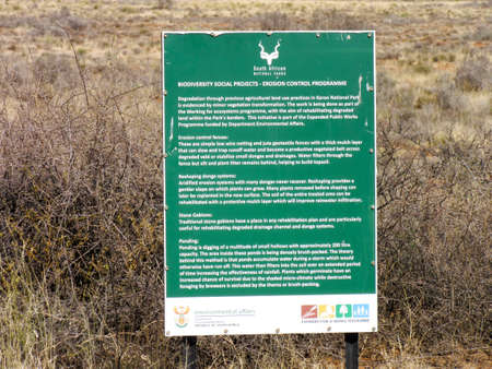 Karoo National Park near Beaufort West, South Africa: sign telling of biodiversity research Stok Fotoğraf