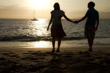 Couple on beach Stock Photo
