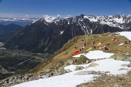 paragliders preparing for the valley photo