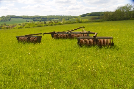 old machinery on the fields Stock Photo
