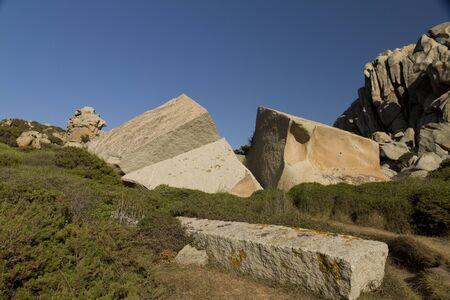 giant split granite rock